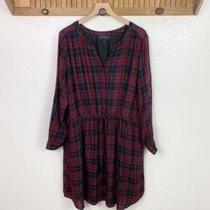 Lane Bryant Red Plaid Long Sleeve Midi Shirt Dress